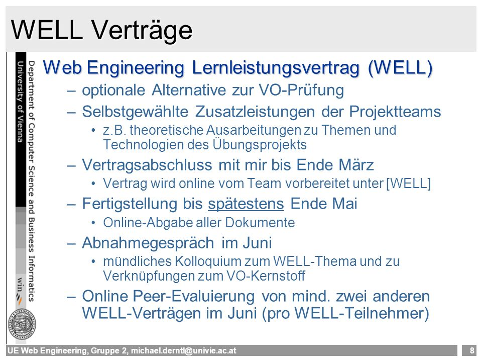 WELL Verträge Web Engineering Lernleistungsvertrag (WELL)