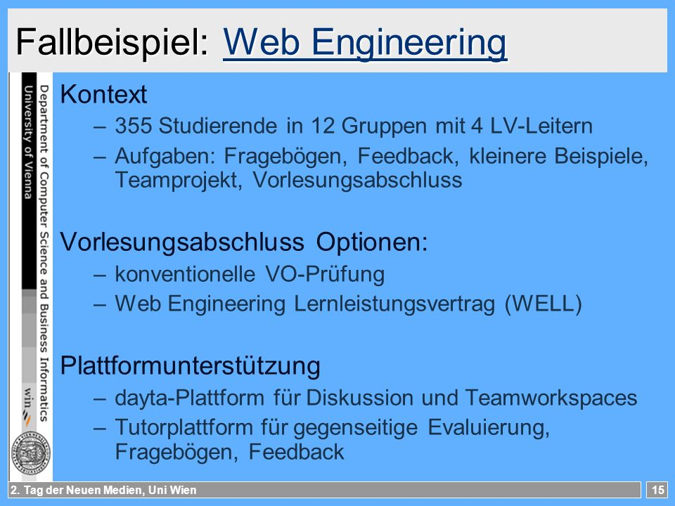Fallbeispiel: Web Engineering