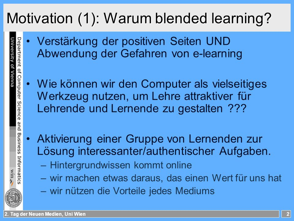 Motivation (1): Warum blended learning