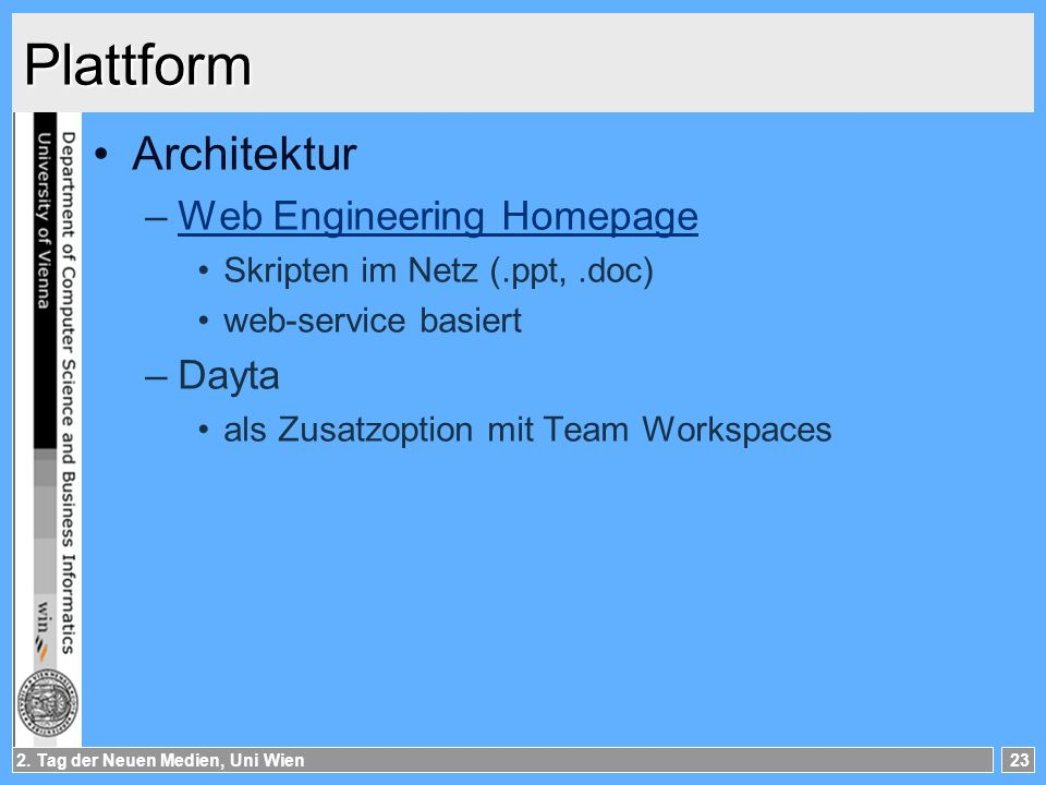 Plattform Architektur Web Engineering Homepage Dayta
