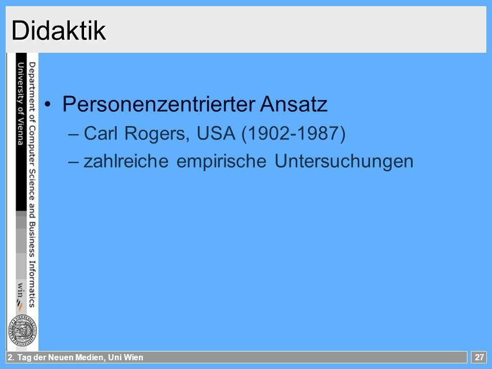 Didaktik Personenzentrierter Ansatz Carl Rogers, USA (1902-1987)