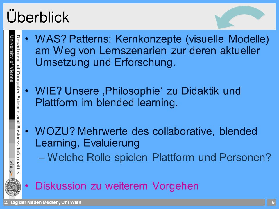Überblick WAS Patterns: Kernkonzepte (visuelle Modelle) am Weg von Lernszenarien zur deren aktueller Umsetzung und Erforschung.