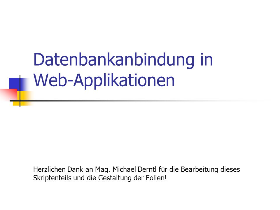 Datenbankanbindung in Web-Applikationen