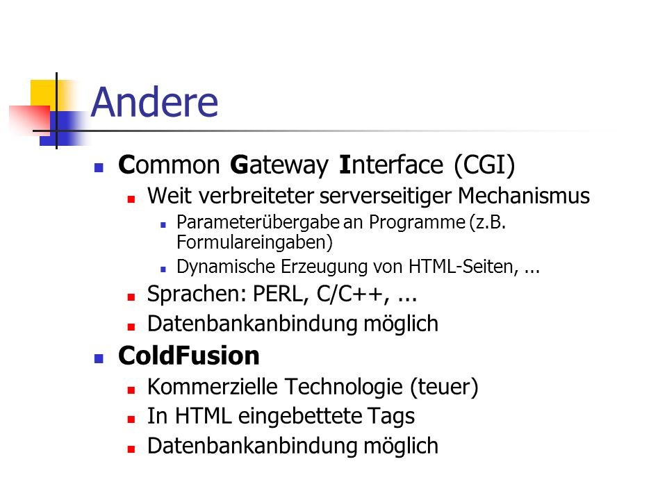 Andere Common Gateway Interface (CGI) ColdFusion