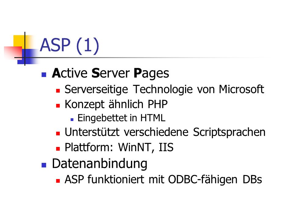 ASP (1) Active Server Pages Datenanbindung
