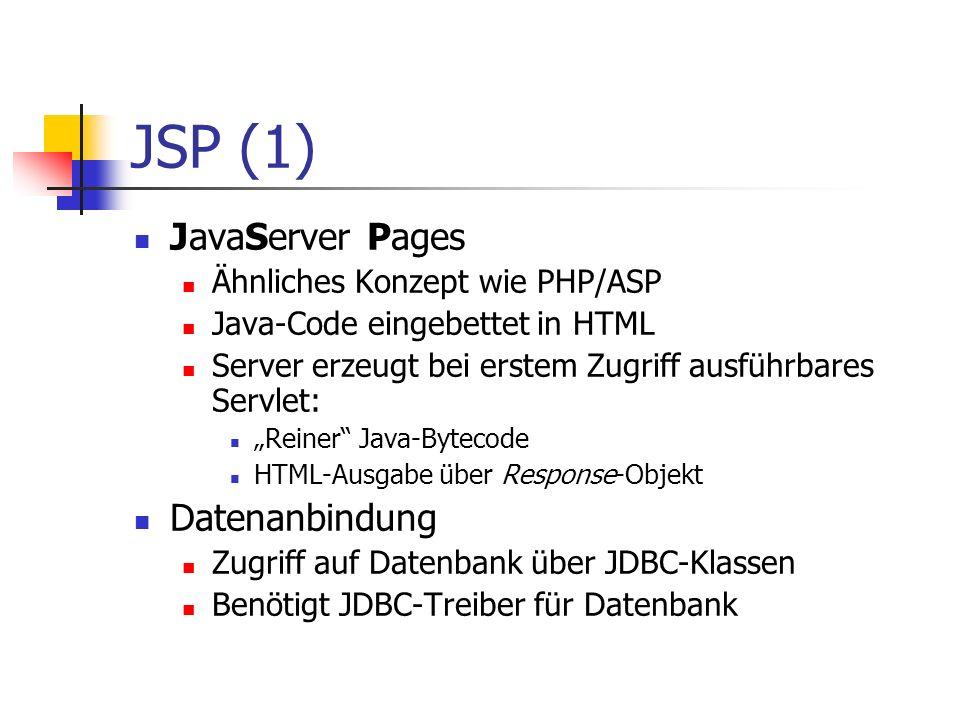 JSP (1) JavaServer Pages Datenanbindung Ähnliches Konzept wie PHP/ASP