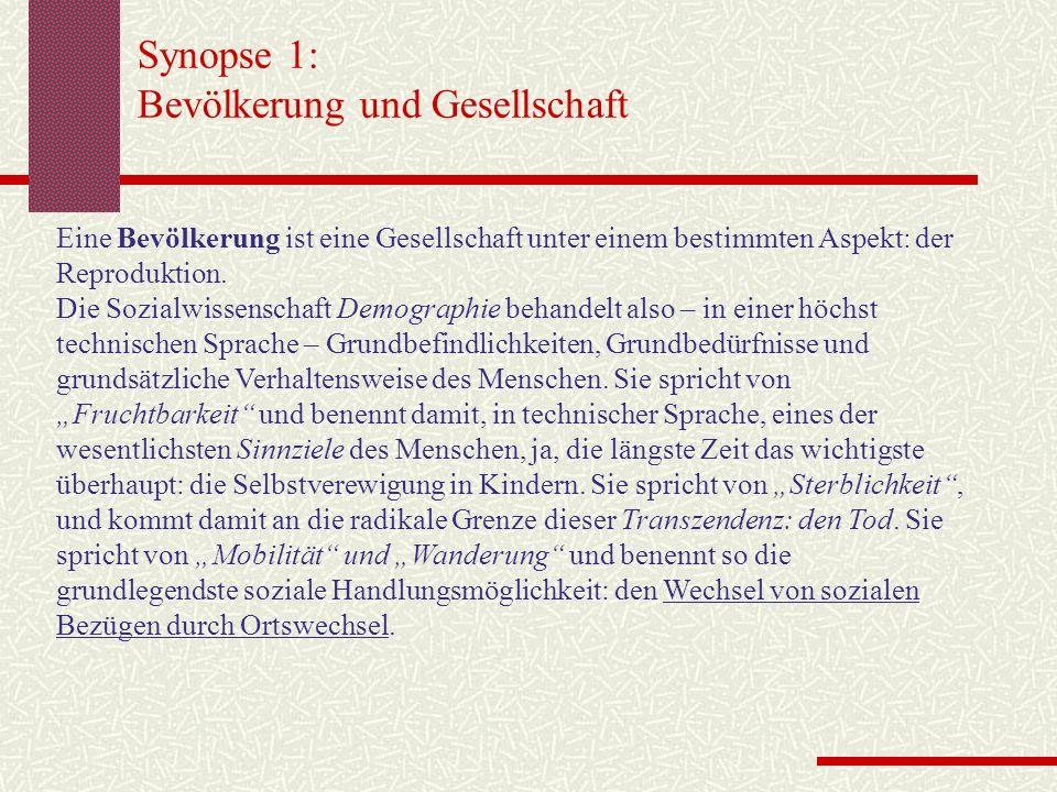Synopse 1: Bevölkerung und Gesellschaft