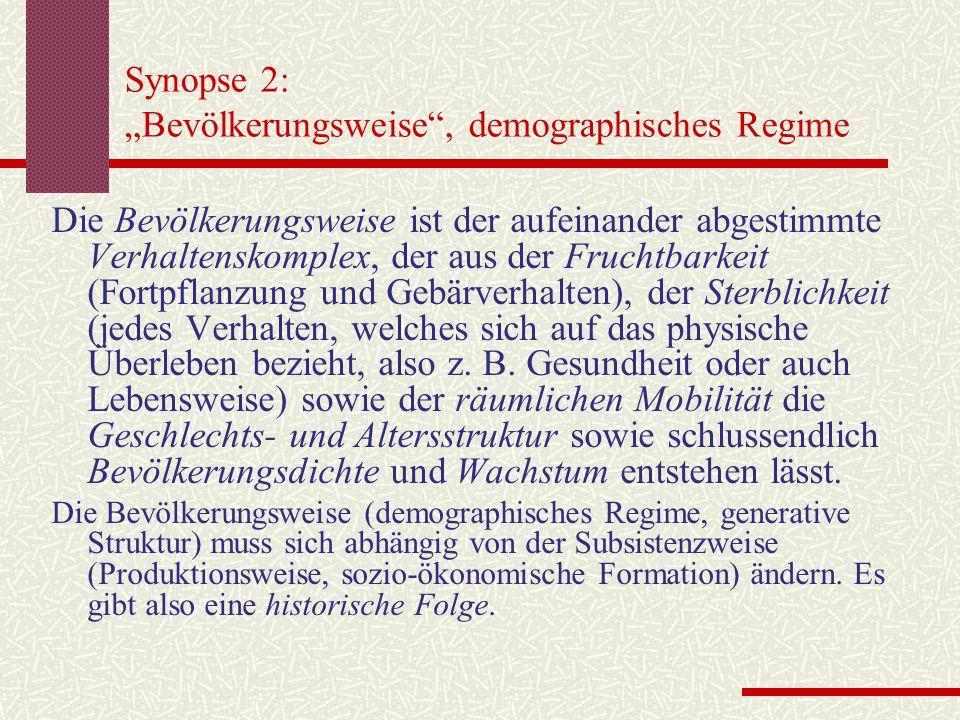 """Synopse 2: """"Bevölkerungsweise , demographisches Regime"""