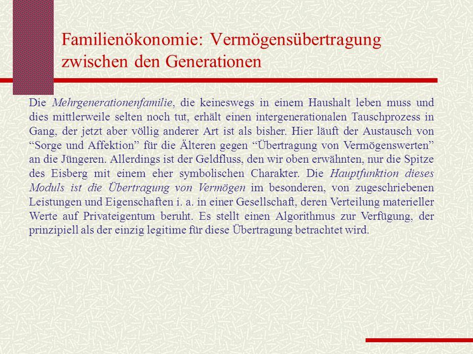Familienökonomie: Vermögensübertragung zwischen den Generationen