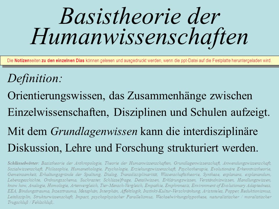 Inhalt der Power - Point - Präsentation: