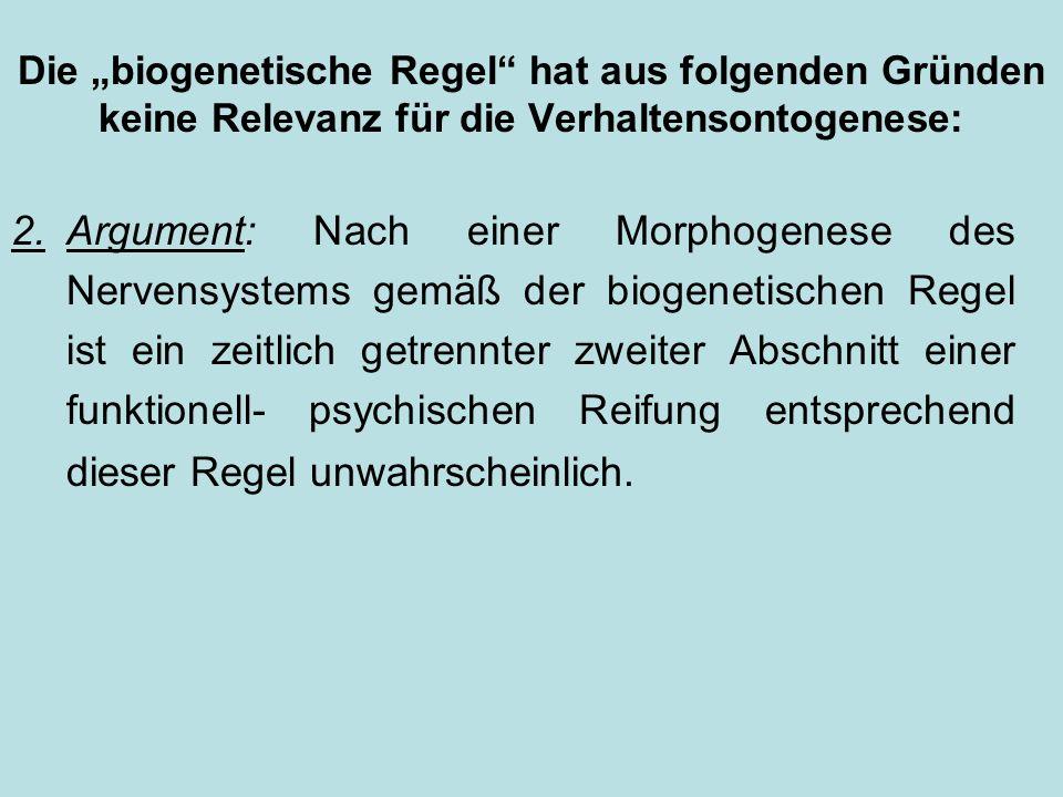 """Die """"biogenetische Regel hat aus folgenden Gründen keine Relevanz für die Verhaltensontogenese:"""
