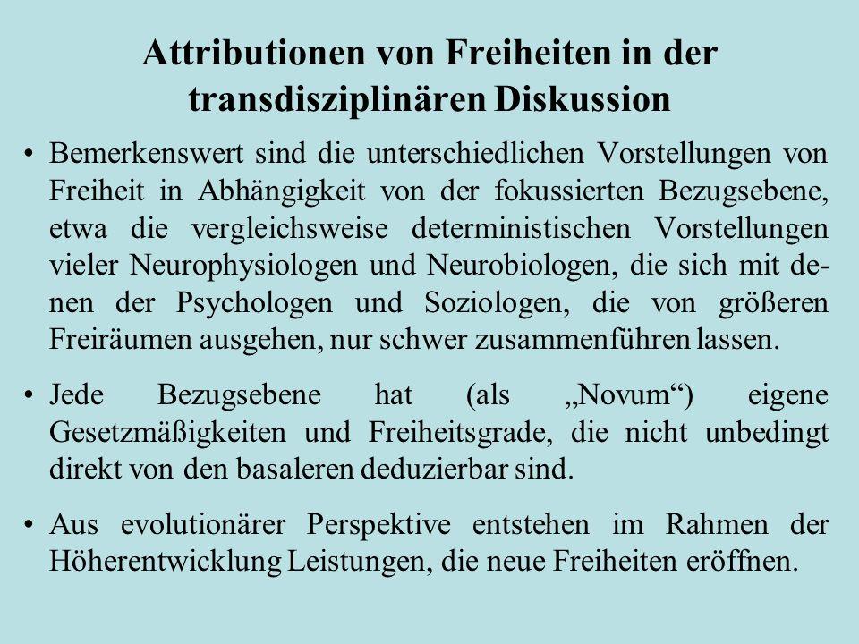 Attributionen von Freiheiten in der transdisziplinären Diskussion