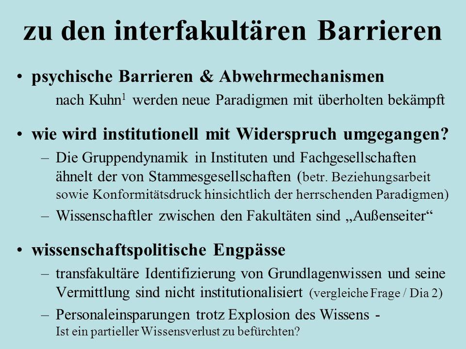 zu den interfakultären Barrieren