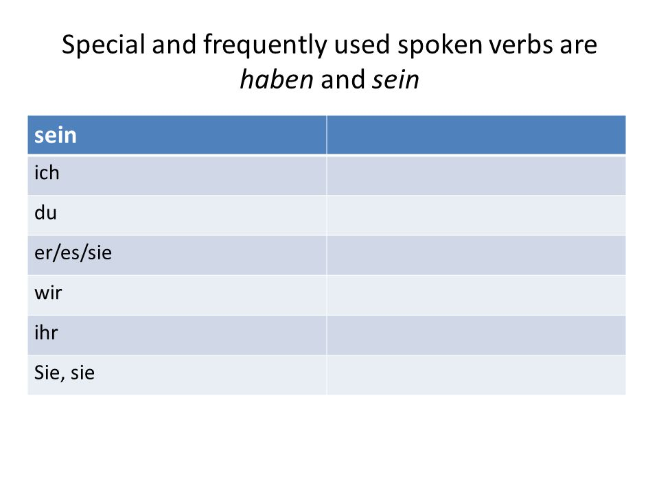 Special and frequently used spoken verbs are haben and sein