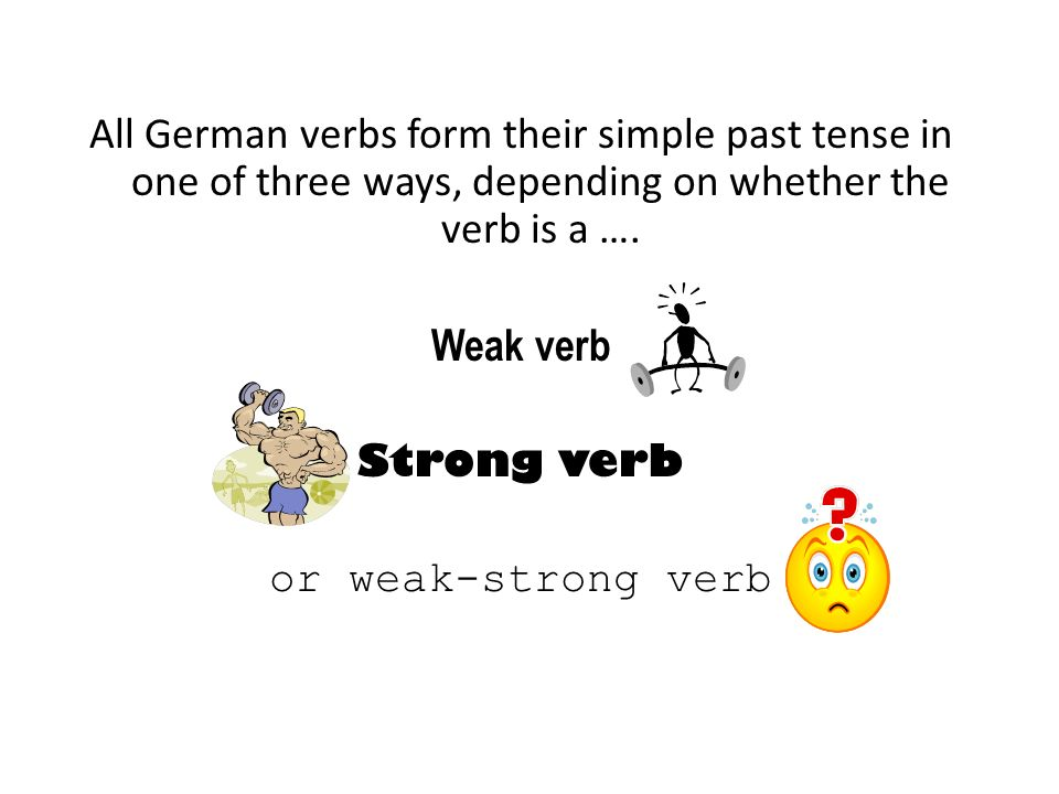 All German verbs form their simple past tense in one of three ways, depending on whether the verb is a ….