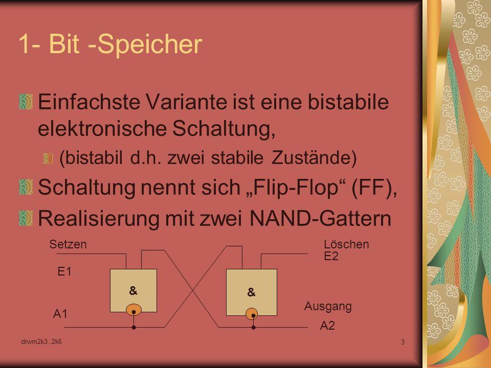 1- Bit -Speicher Einfachste Variante ist eine bistabile elektronische Schaltung, (bistabil d.h. zwei stabile Zustände)