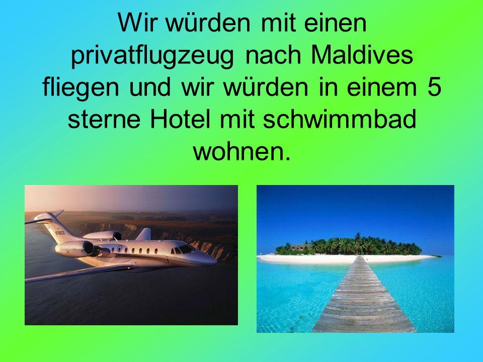 Wir würden mit einen privatflugzeug nach Maldives fliegen und wir würden in einem 5 sterne Hotel mit schwimmbad wohnen.