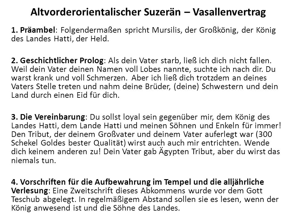 Altvorderorientalischer Suzerän – Vasallenvertrag