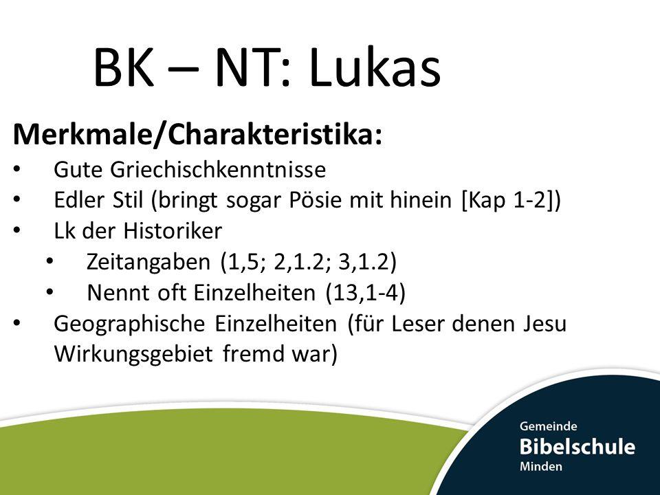 BK – NT: Lukas Merkmale/Charakteristika: Gute Griechischkenntnisse