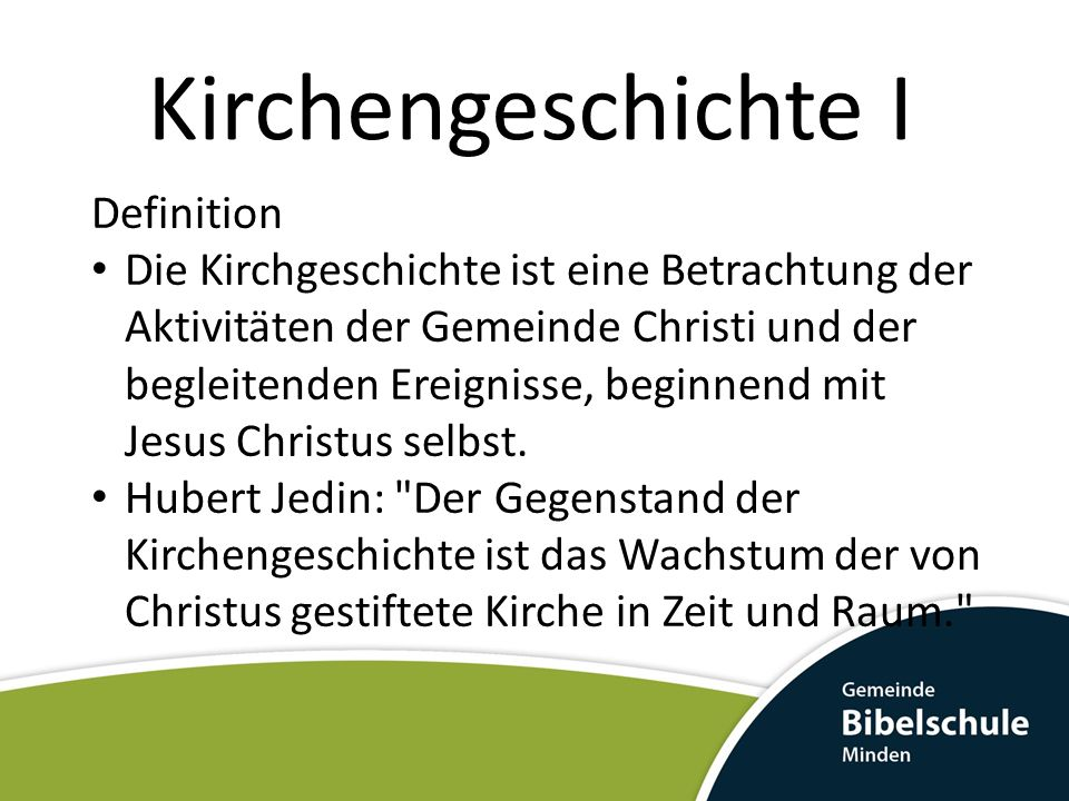 Kirchengeschichte I Definition