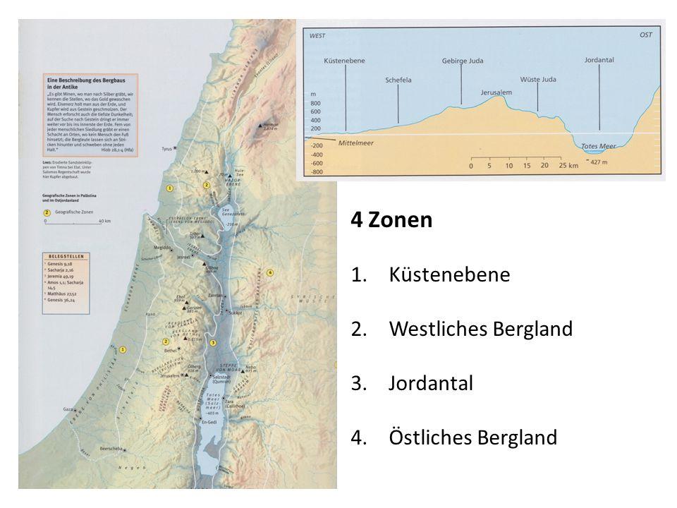4 Zonen Küstenebene Westliches Bergland Jordantal Östliches Bergland