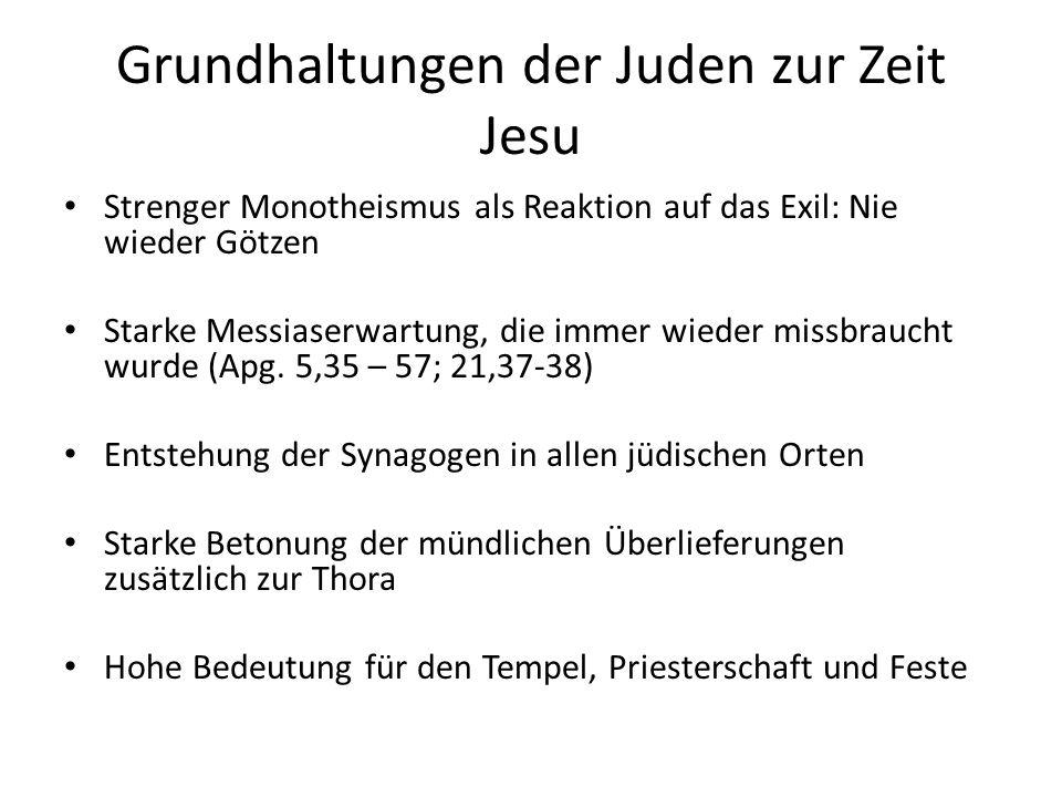 Grundhaltungen der Juden zur Zeit Jesu