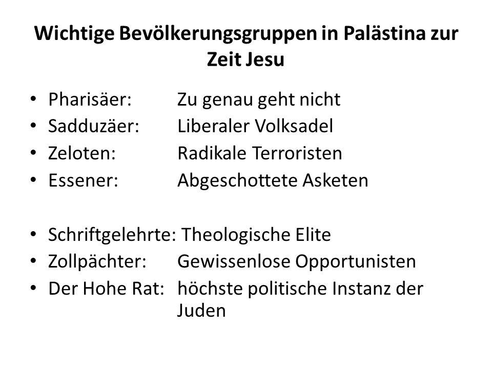 Wichtige Bevölkerungsgruppen in Palästina zur Zeit Jesu