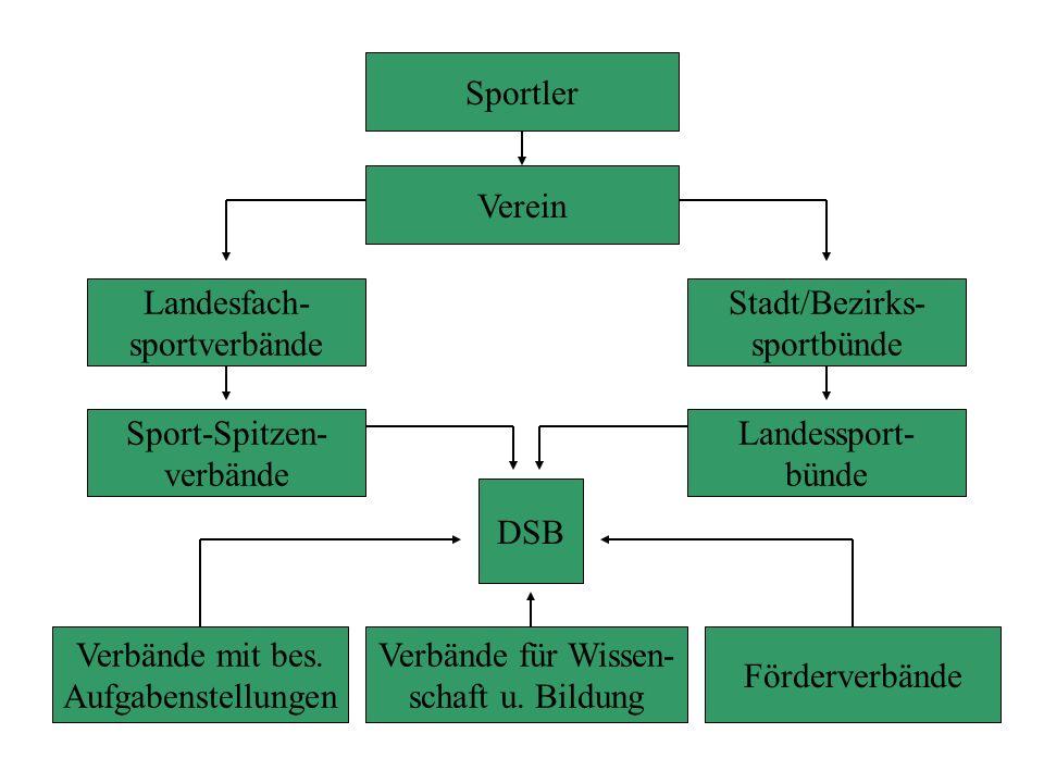Sportler Verein. Landesfach- sportverbände. Stadt/Bezirks- sportbünde. Sport-Spitzen- verbände.