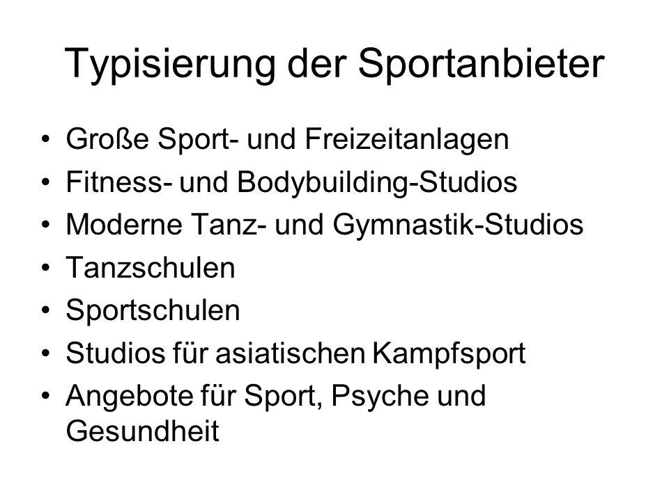 Typisierung der Sportanbieter