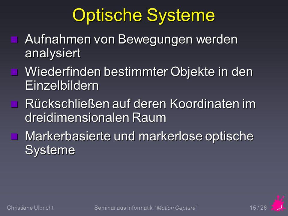 Optische Systeme Aufnahmen von Bewegungen werden analysiert