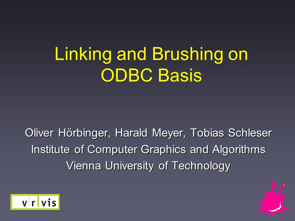 Linking and Brushing on ODBC Basis