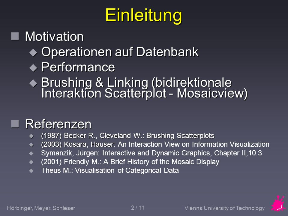 Einleitung Motivation Operationen auf Datenbank Performance