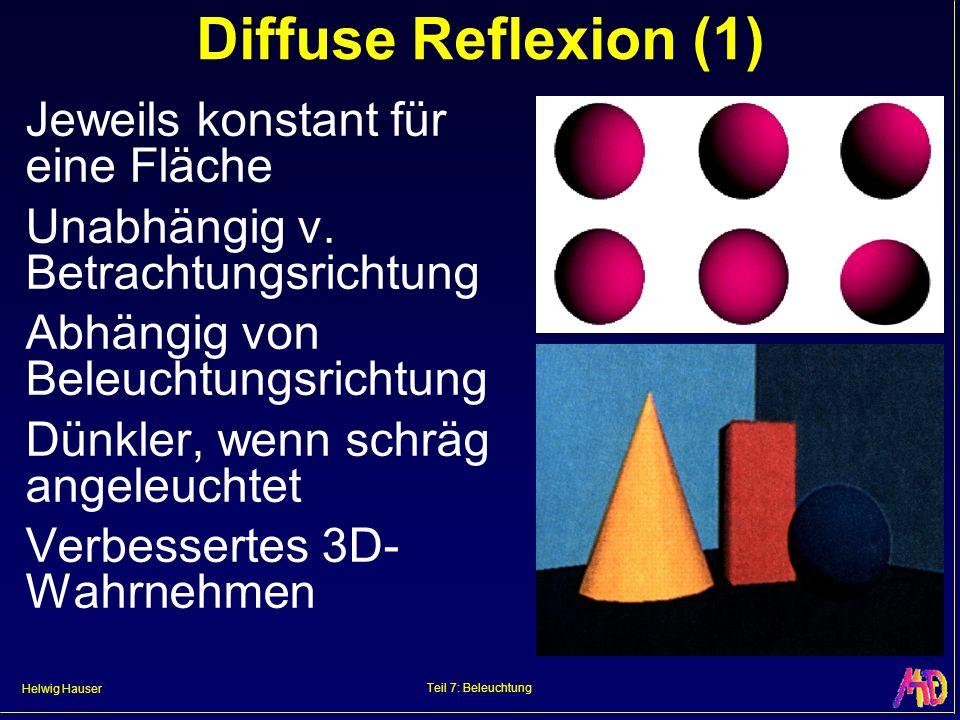 Diffuse Reflexion (1) Jeweils konstant für eine Fläche