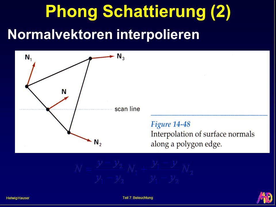 Phong Schattierung (2) Normalvektoren interpolieren