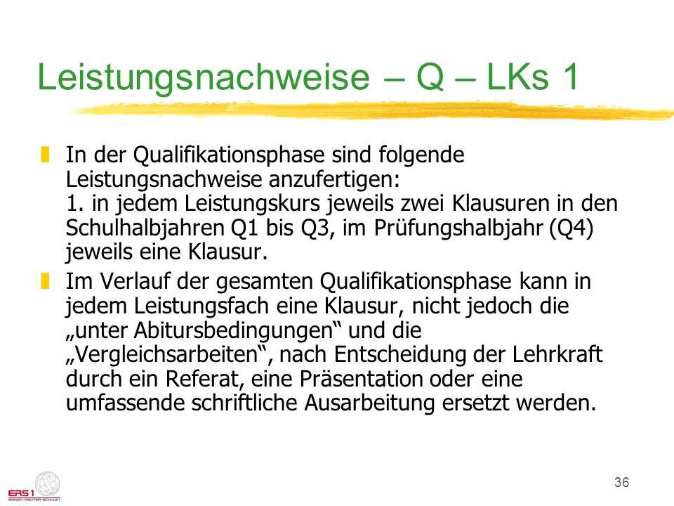 Leistungsnachweise – Q – LKs 1