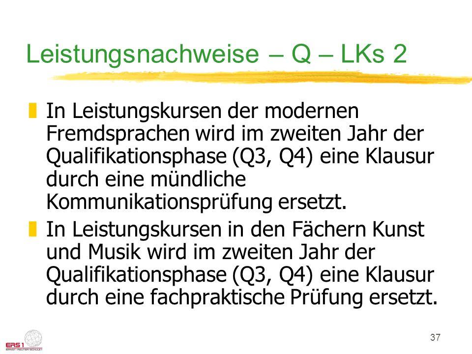 Leistungsnachweise – Q – LKs 2