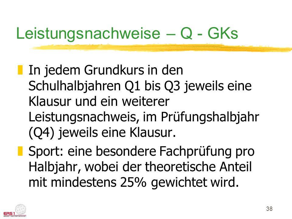 Leistungsnachweise – Q - GKs