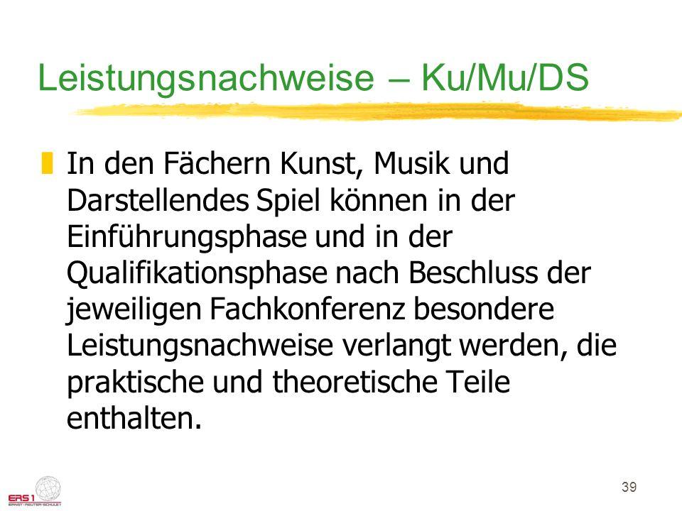 Leistungsnachweise – Ku/Mu/DS