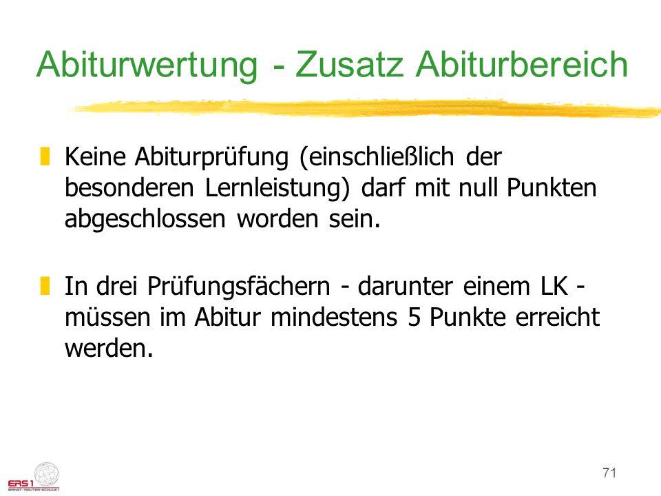 Abiturwertung - Zusatz Abiturbereich