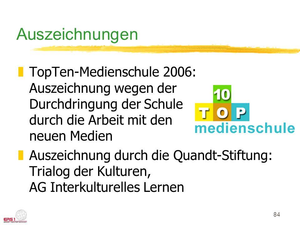 Auszeichnungen TopTen-Medienschule 2006: Auszeichnung wegen der Durchdringung der Schule durch die Arbeit mit den neuen Medien.