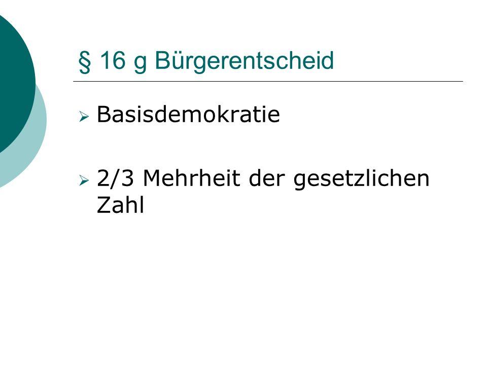 § 16 g Bürgerentscheid Basisdemokratie