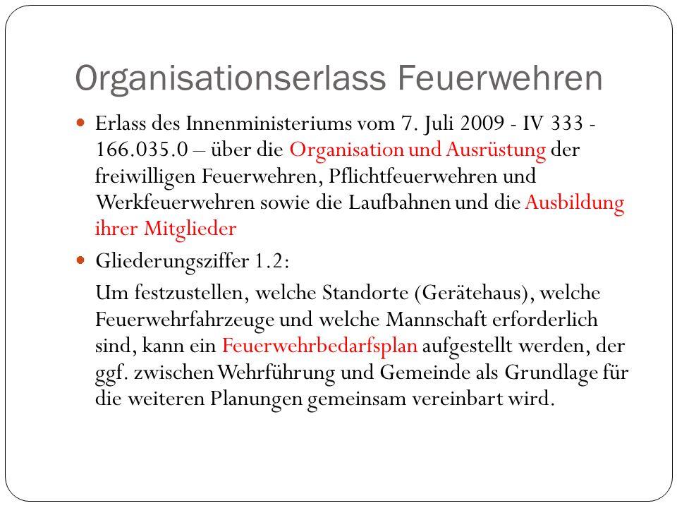 Organisationserlass Feuerwehren