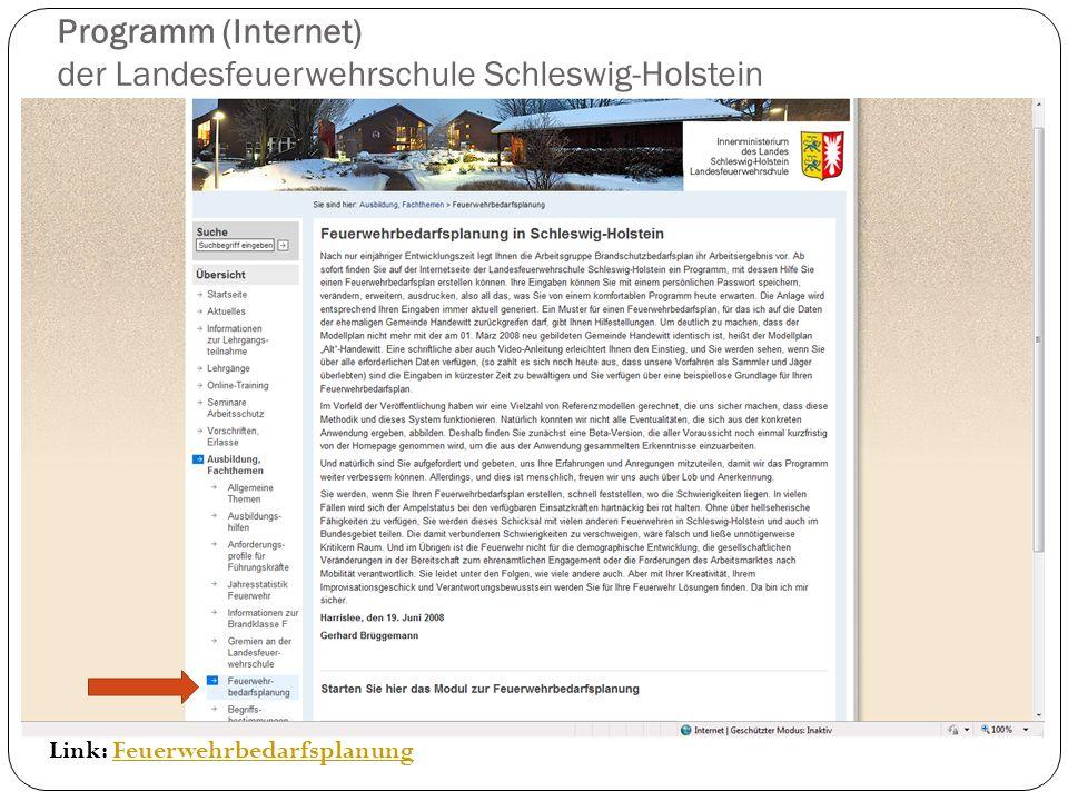 Programm (Internet) der Landesfeuerwehrschule Schleswig-Holstein