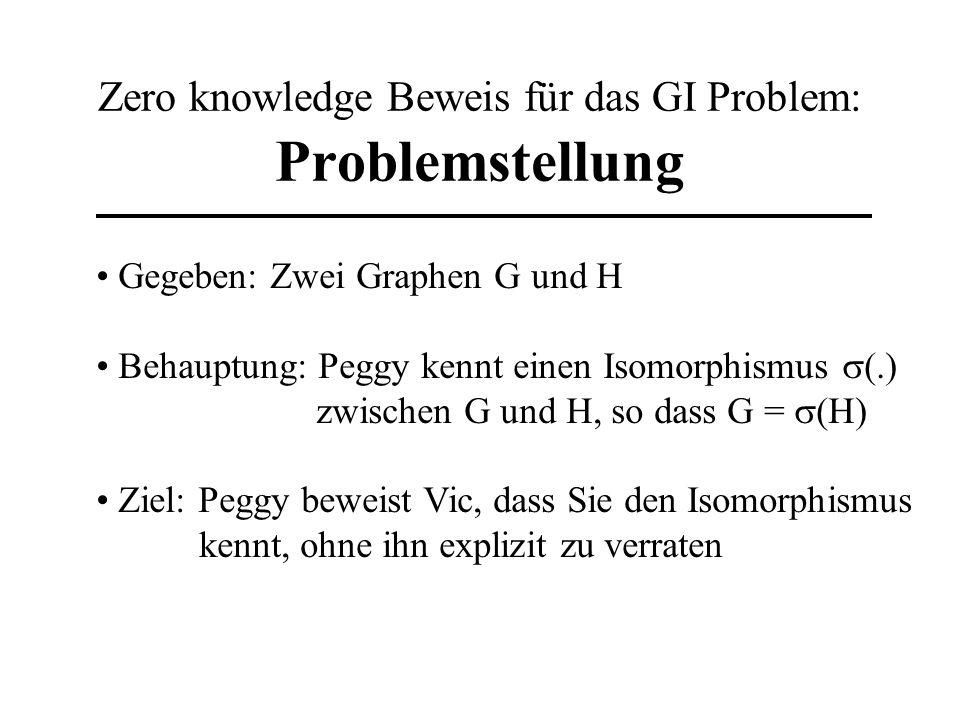 Zero knowledge Beweis für das GI Problem: Problemstellung