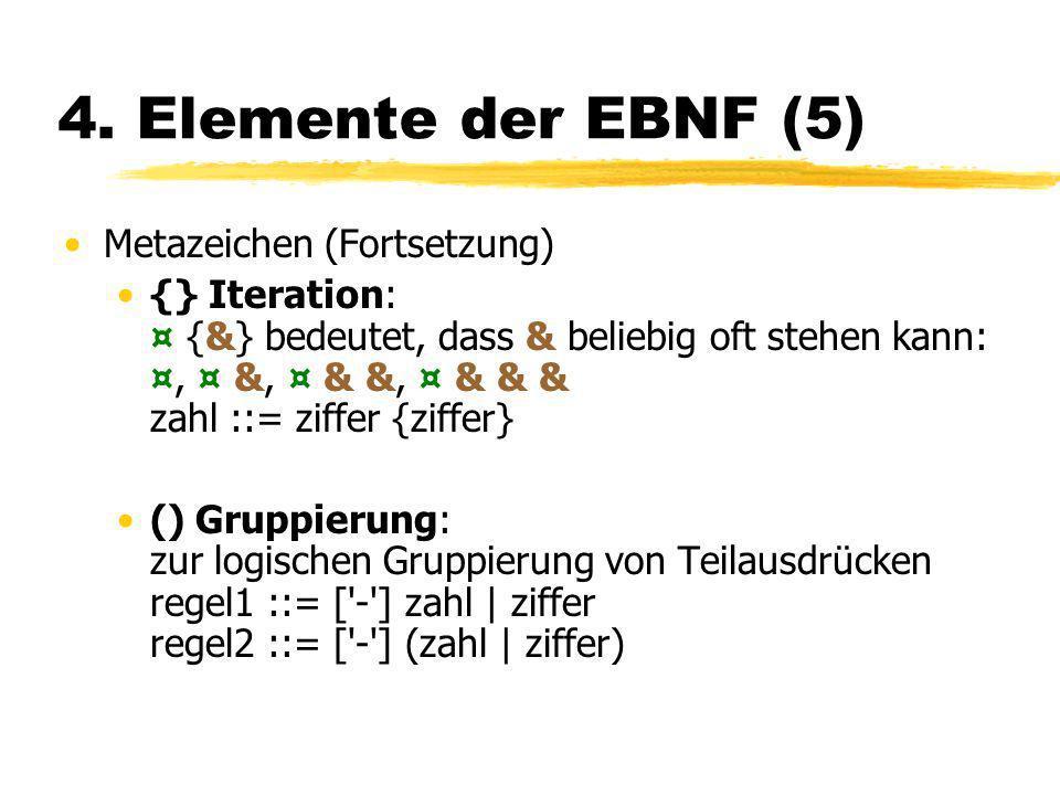 4. Elemente der EBNF (5) Metazeichen (Fortsetzung)