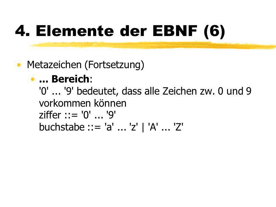 4. Elemente der EBNF (6) Metazeichen (Fortsetzung)