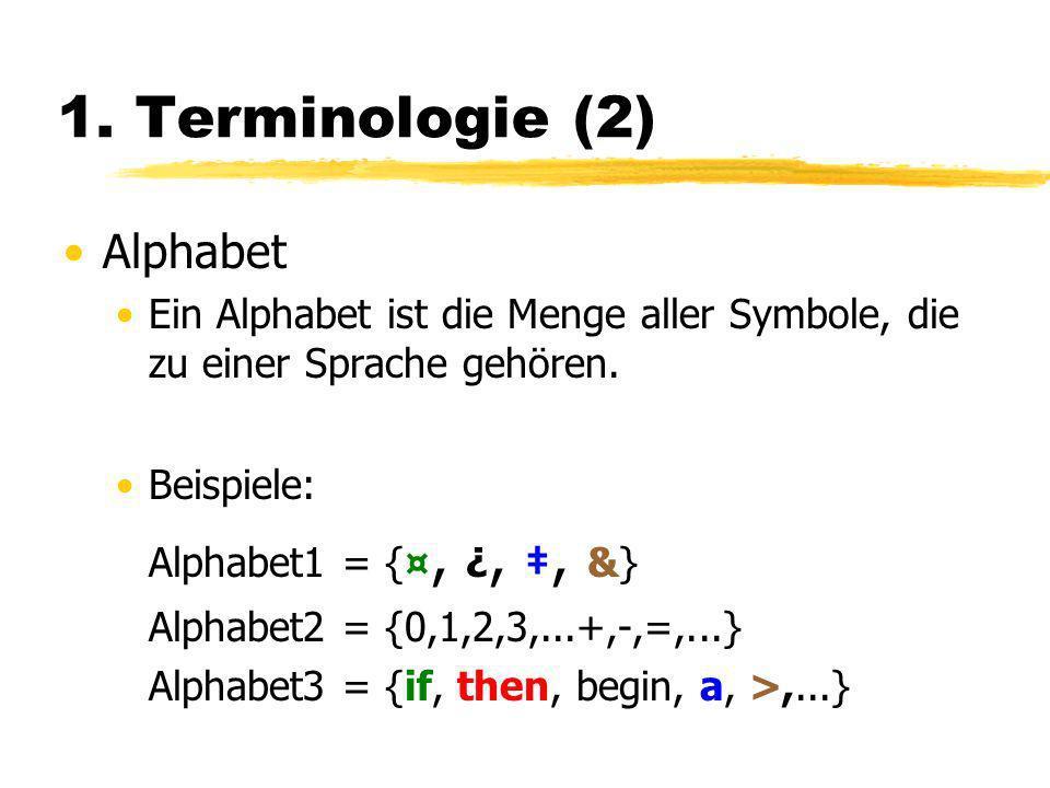 1. Terminologie (2) Alphabet