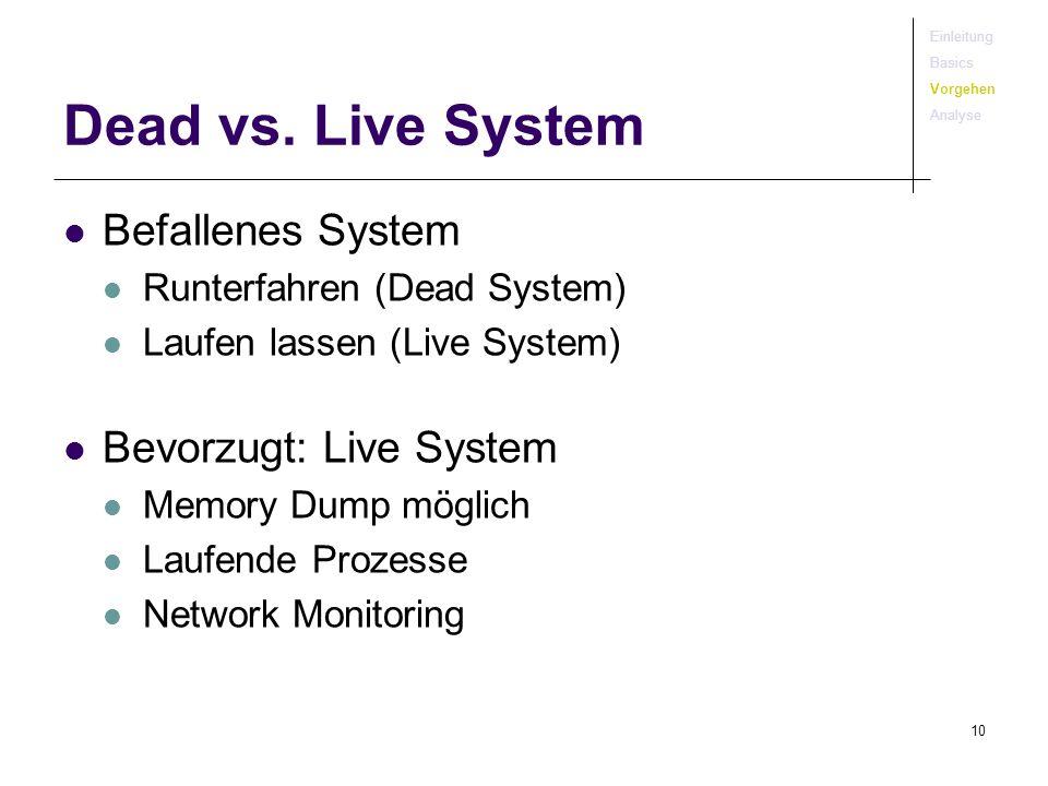 Dead vs. Live System Befallenes System Bevorzugt: Live System