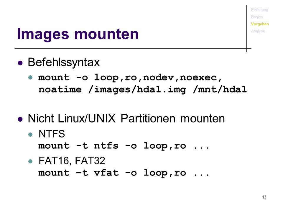 Images mounten Befehlssyntax Nicht Linux/UNIX Partitionen mounten