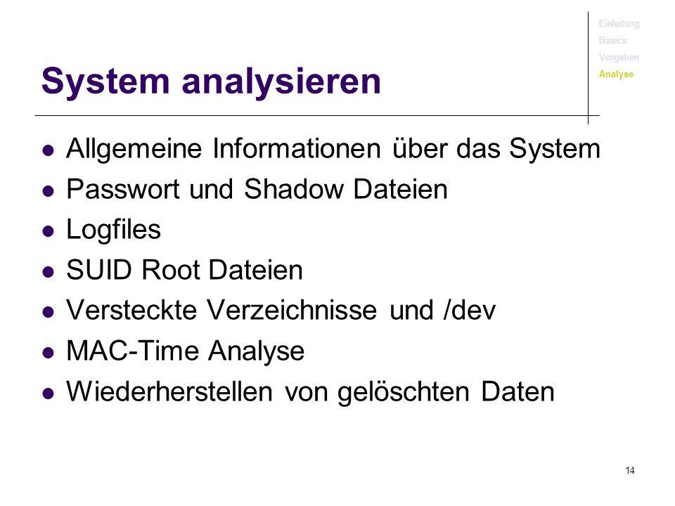 System analysieren Allgemeine Informationen über das System